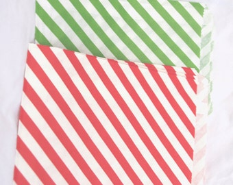 Red and Green Paper Bags-medium sized-party favors--gifts---weddings--showers--24ct