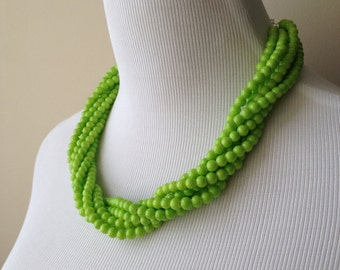 Lime Green Statement Necklace - Lime Green Multi Strand Statement Necklace - Bianca Collection