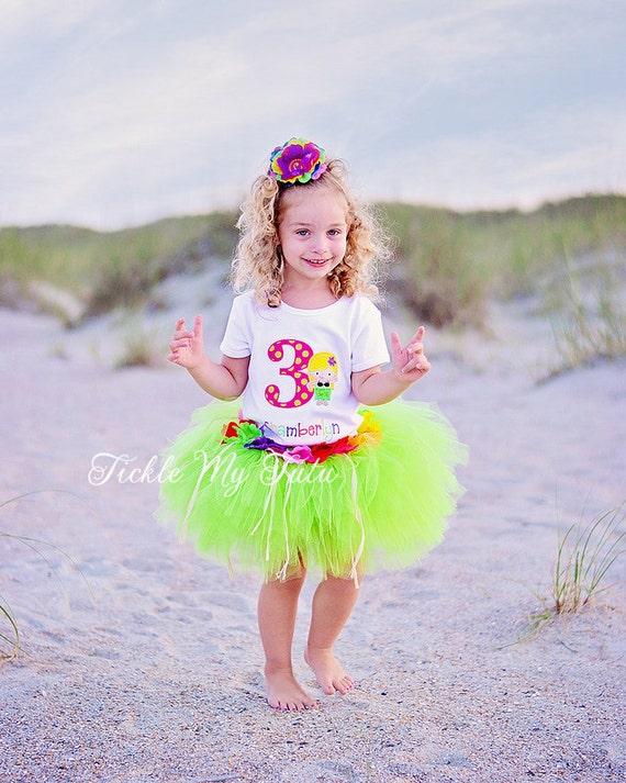 Luau Girl Hawaiian Themed Birthday Tutu Outfit Hawaiian Luau