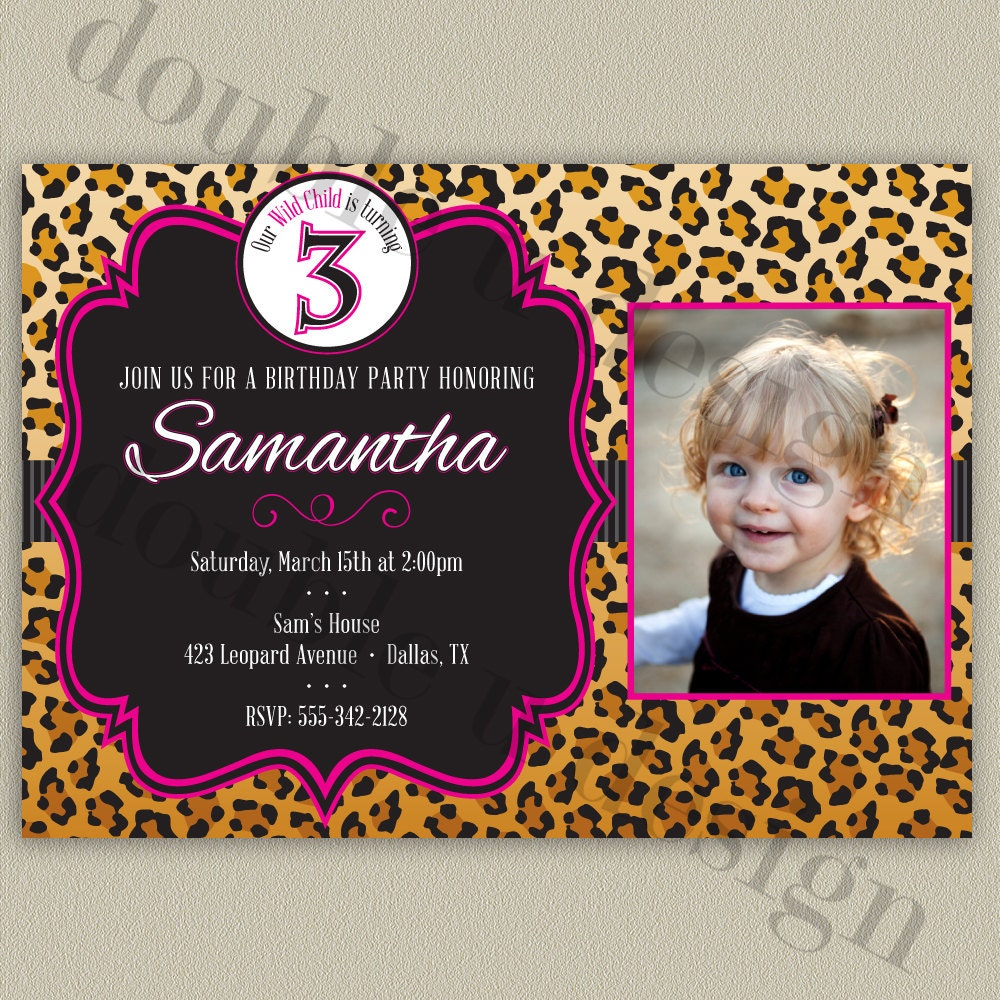 Leopard Print Birthday Party Invitation Printable With Color
