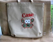 Fun  Embroidered large tote bag with zipper- perfect carryall