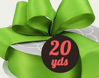 """Satin Kiwi Green Ribbon - 7/8"""" wide at 20 yards"""