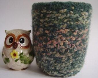 felted wool container desktop organizer eco friendly storage Jade mix