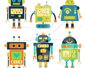 Cute Robots Digital Clip Art Clipart Set 2 - Personal and Commercial Use