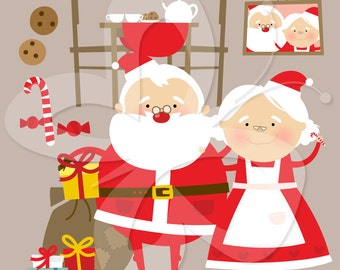 Mr and Mrs Claus Clip Art Clipart Set - Commercial and Personal use