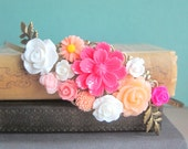 Fuchsia Wedding Headband Peach Pink Floral Flower Hairband Bridal Fascinator Hair Piece Headpiece Bridesmaid Gift Autumn Colors Fall Trends