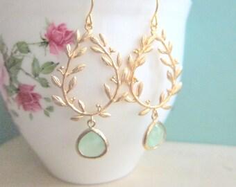 Gold Wreath Earrings, Mint Green Gold Dangle Earrings, Laurel Wreath Wedding Earrings, Bridal Jewelry, Green Bridesmaids Gift, C1