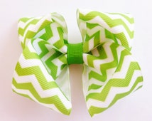 apple green white Chevron print hair bow--3.5 inch big boutique bows for baby toddler girls--simple accessories