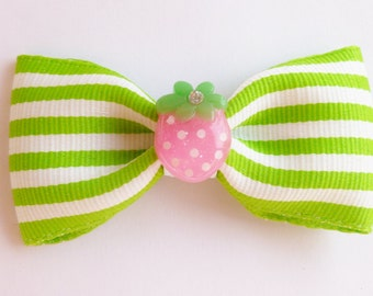 strawberry pin up style tuxedo bow hair accessories- rockabilly by bows for show- green and white clip