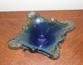 Beautiful Two Toned Blue Art Glass by Unknown Maker