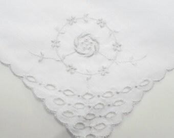 Embroidered Hankerchief, Vintage Hankies, Vintage Handkerchiefs, 1950s, Handkerchief, Embroidered Hankie, Grey, from All Vintage Hankies