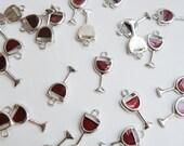 10 Wine Glass Goblet merlot red enamel charms silver finish cocktail beverage marsala garnet 20x10mm DB22339