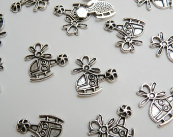 10 Helicopter charms antique silver 18x18mm DB11715