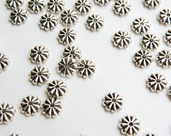 25 Snowflake Flower rondelle spacer beads antique silver 7x2mm 1787BB