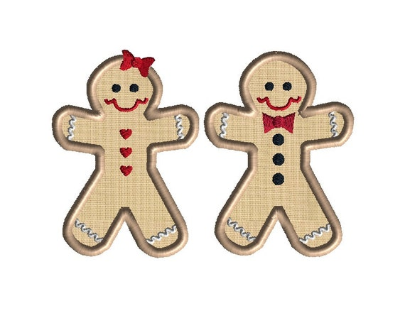 Gingerbread Boy & Girl Machine Embroidery Applique