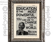 Nelson Mandela Education Quote Change the World on Vintage Upcycled Recycled Dictionary Art Print Book Art Print