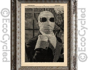 The Invisible Man on Vintage Upcycled Dictionary Art Print  Book Art Print Recycled Classic Movie Monster book lover art book lover gift