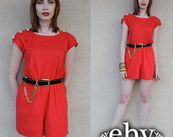Vintage 80s Red Shorts Romper Playsuit Jumper S M Red Romper Red Shortalls Red Jumper Red Jumpsuit Red Playsuit Shorts Romper