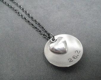 LOVE (Heart) 26.2 - Marathon Running Necklace on Gunmetal chain - Running Jewelry - Run Necklace - Love 26.2 - Marathon Valentine - 26.2