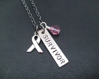 SURVIVOR Cancer Awareness Ribbon Necklace with Crystal - Choose Crystal or Pearl - Cancer Ribbon Jewelry - Breast Cancer Survivor Jewelry