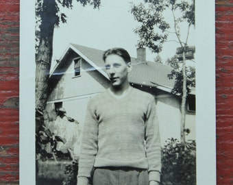 "Vintage Photo ""Sweater Man"", Photography, Paper Ephemera, Snapshot, Old Photo, Collectibles 1385"
