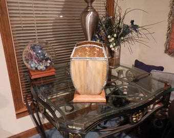 Stained Glass Small Table Lamp- Amber