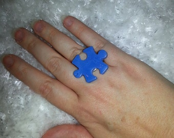 Blue Puzzle Piece adjustable ring
