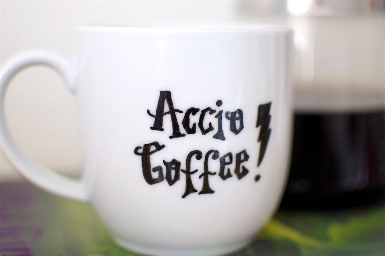 Harry Potter Accio Coffee Spell Hand Painted Mug