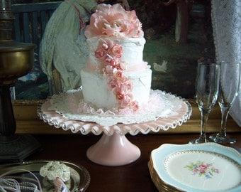 Fenton Pink Cake Stand- Pink Silvercrest Cake Stand - Pink Milk Glass  - Wedding Cake Stand - Pink Wedding - Wedding Milk Glass - Cake Stand
