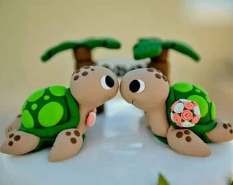 Sea Turtle Wedding Cake Topper With Palm Trees - Choose Your Colors
