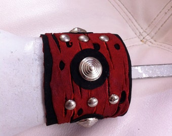 Red and Black Punky Leather Cuff
