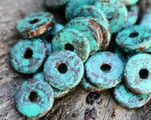 10Pc Greek Ceramic beads, Turquoise Patina, 13mm spacer, washer, rondelle, round, green patina, rustic - 0808