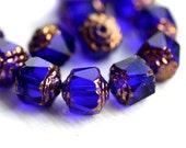 8mm Dark Blue cathedral beads, czech glass, golden ends, round, fire polished - 15Pc - 1460