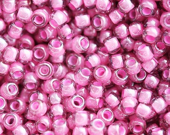 Seed beads, TOHO, size 11/0, Pink Lined - Inside Color Lt. Amethyst, N 959, rocailles, glass beads - 10g - S083