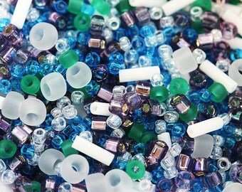 Beads Mix, TOHO Seeds - Turquoise Blue, White, Green, Purple -  N 3229, rocailles, glass beads - 10g - S262