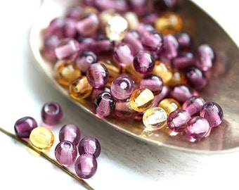Beads mix, round czech beads, Purple violet and Amber yellow, glass spacers, druk - 4mm - approx.80Pc - 1304