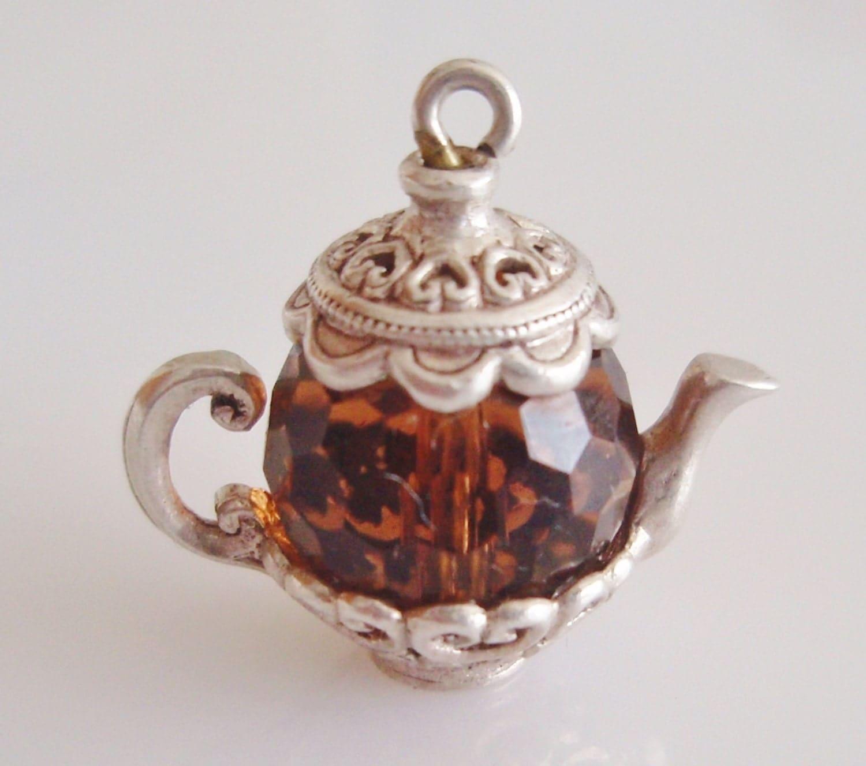 nuvo silver brown gem set teapot charm