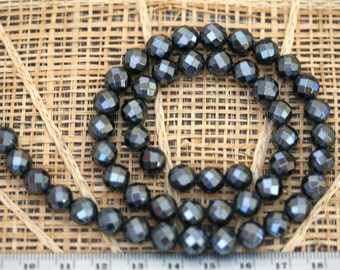 Natural Hematite 8mm Faceted Round Beads, 16-Inch Strand G01180