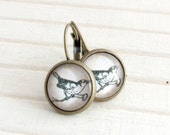 Black and White Bird Earrings .. monochrome earrings, illustration earrings, swallow, wren, bird jewellery