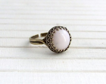 Soft Pink Ring .. baby pink ring, pastel ring, small ring, statement ring, adjustable ring