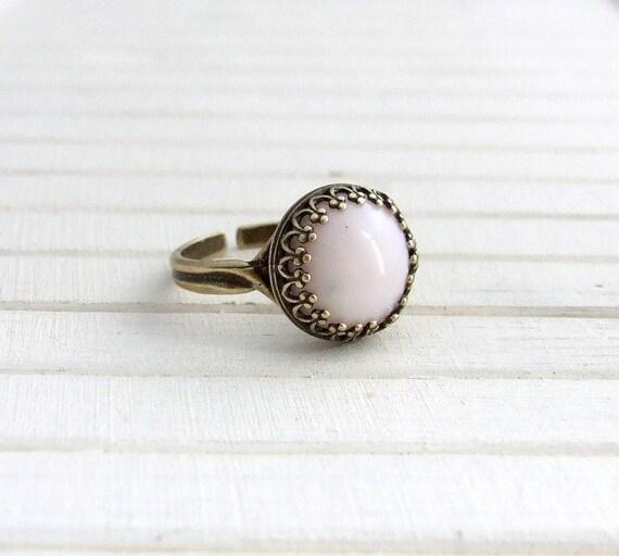 Soft Pink Ring .. baby pink ring, pastel ring, small ring, statement ring, adjustable ring