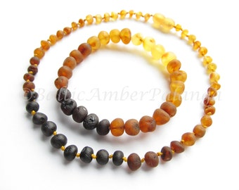 Baltic Amber Teething Set for Baby and Mommy, Raw Rainbow Color Rounded Beads