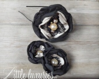 Black & Tan-  Satin and  Lace Headband with Matching Shoe clips with Pearl Accents,  Photo Prop