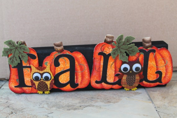 Fall Block with Owls...Fall Decor...Holiday Decor...Shelf Sitter...Mantel Block Fall..Holiday Decor..Housewarming Gift..Country Home