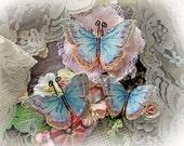 Reneabouquets Butterfly Set - Spun Sugar Glitter Glass Butterflies Scrapbook Embellishment , Wedding, Decoration, Home Decor