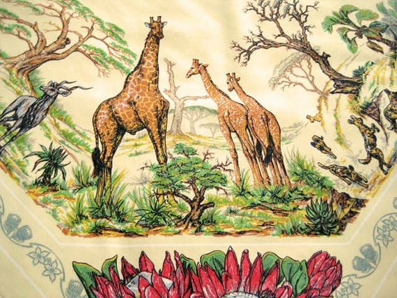 Vintage Tablecloth African Safari Jungle Animals Amp Exotic