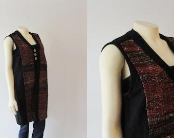 Vintage Vest 60s 70s Hemp & Cotton Multicolor Venus Imports