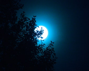Moon Photography, Blue Moon Photo, Night Sky Photo, Macro Moon Photography, Home Decor, by Abby Smith