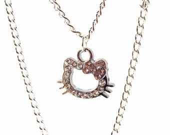Sparkly Kitty Rhinestone Silhouette Necklace