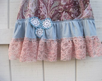Lolita skirt, Lace skirt, Mini lace skirt, Gypsy cowgirl, ruffled lace skirt, pink floral skirt, pink blue lace skirt, XS-S, Ready to ship